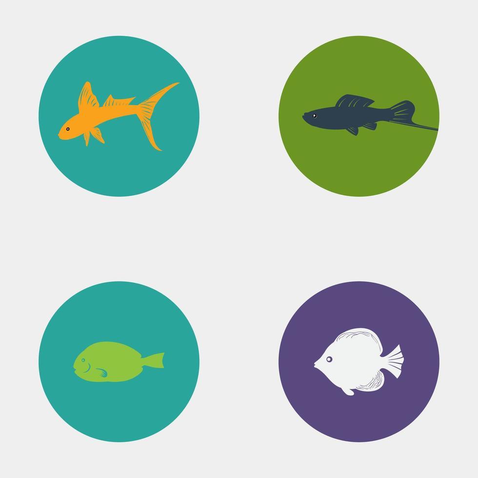 diseño creativo de iconos de peces de colores vector