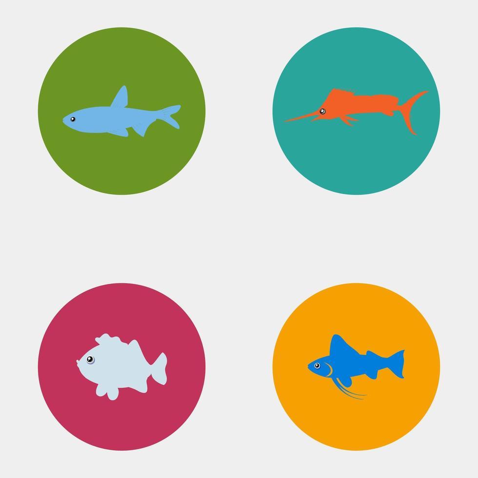 conjunto de iconos de peces de colores vector
