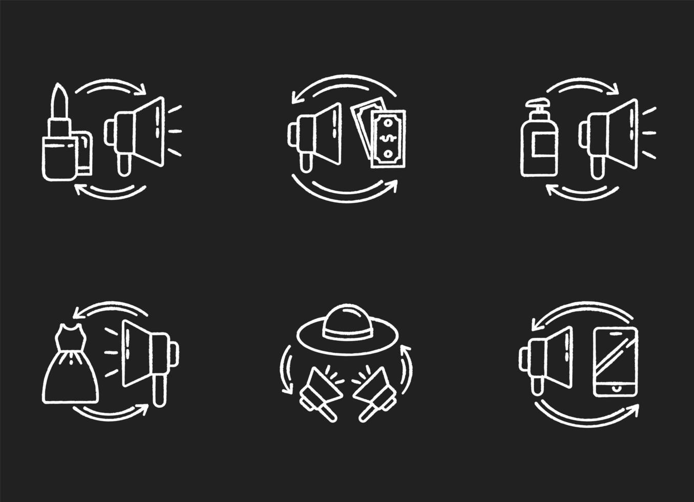 promoción, tiza, blanco, iconos, conjunto vector