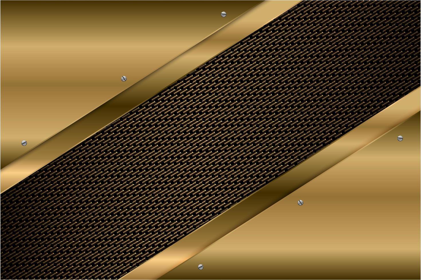 Paneles en ángulo dorado metálico con textura de fibra de carbono. vector