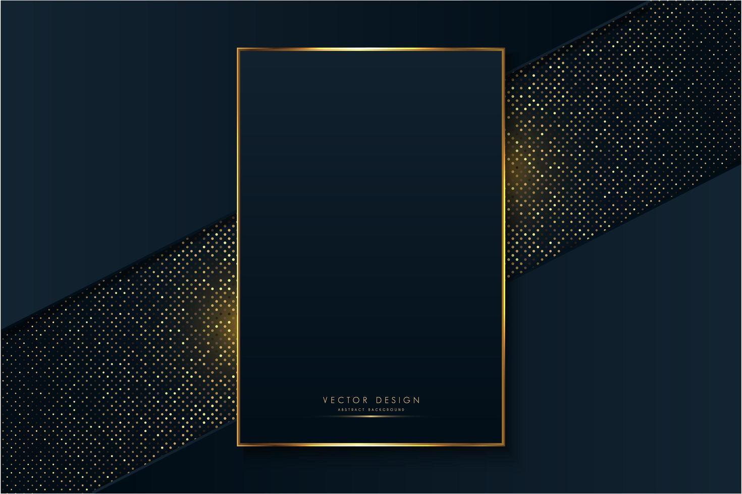 marco de lujo de azul y oro sobre puntos brillantes vector