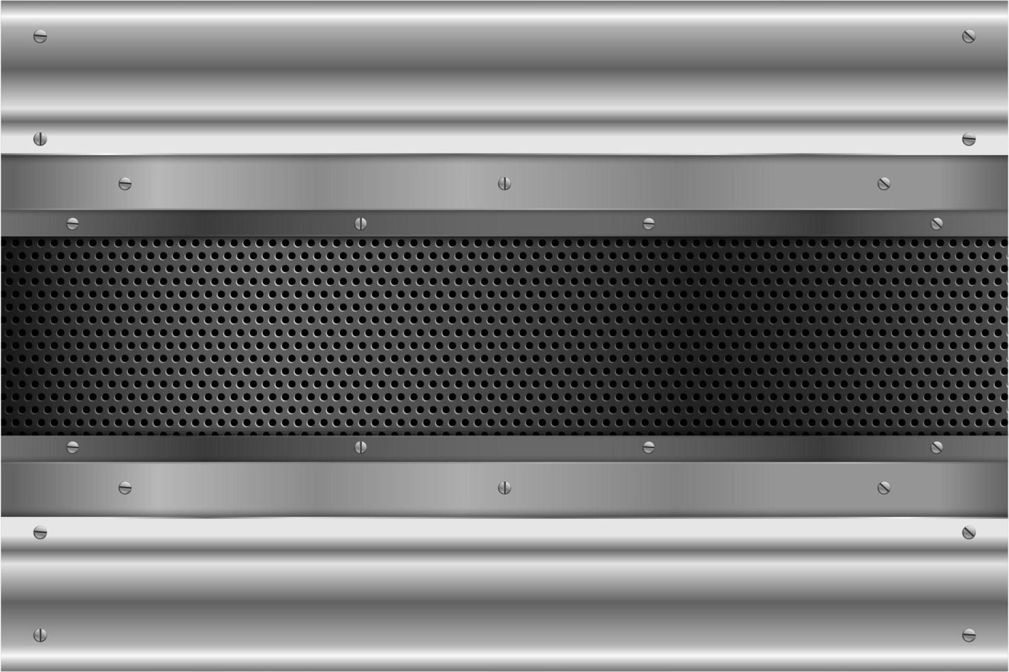 Paneles plateados con tornillos en textura perforada vector