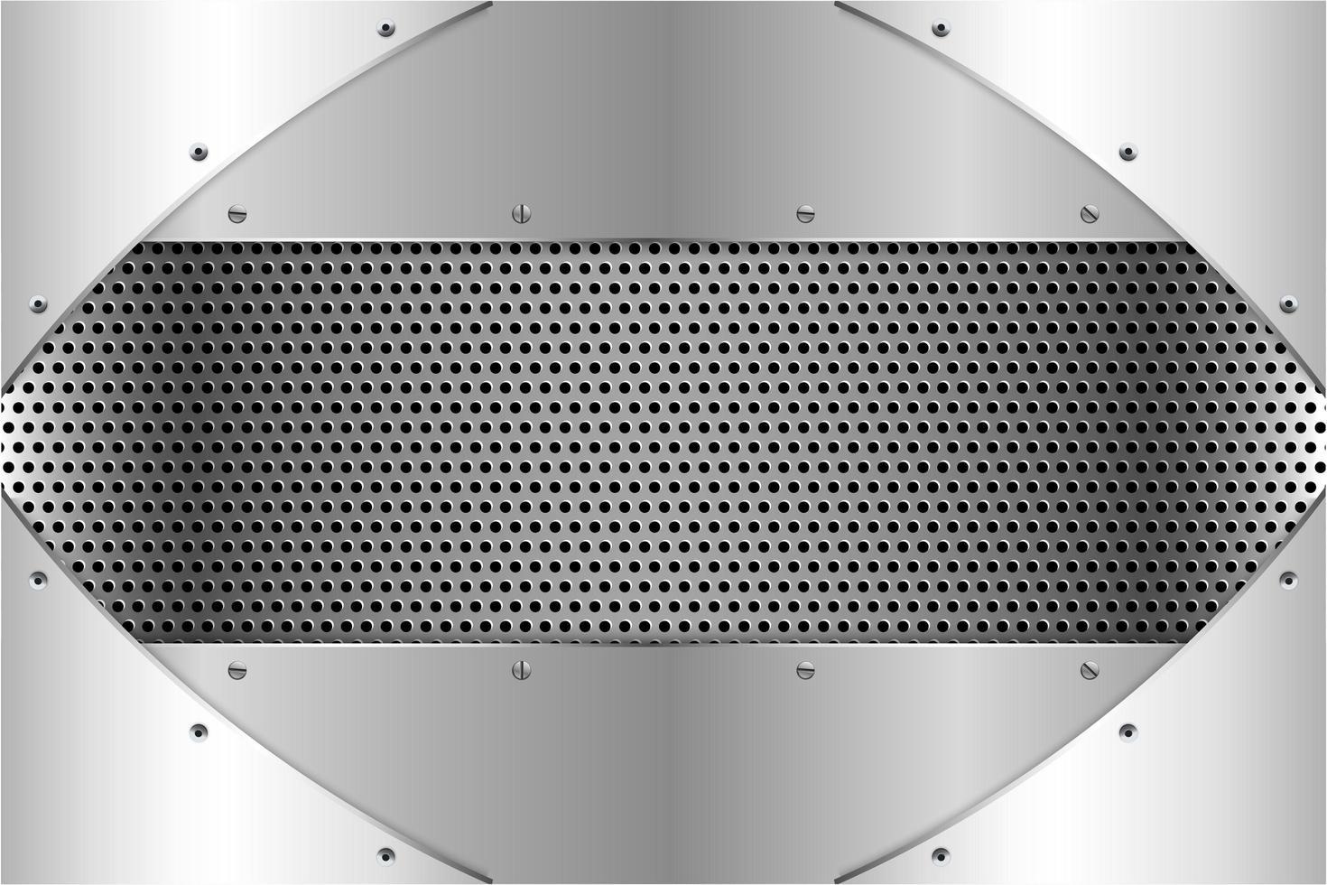 Paneles plateados metalizados con tornillos en textura perforada vector