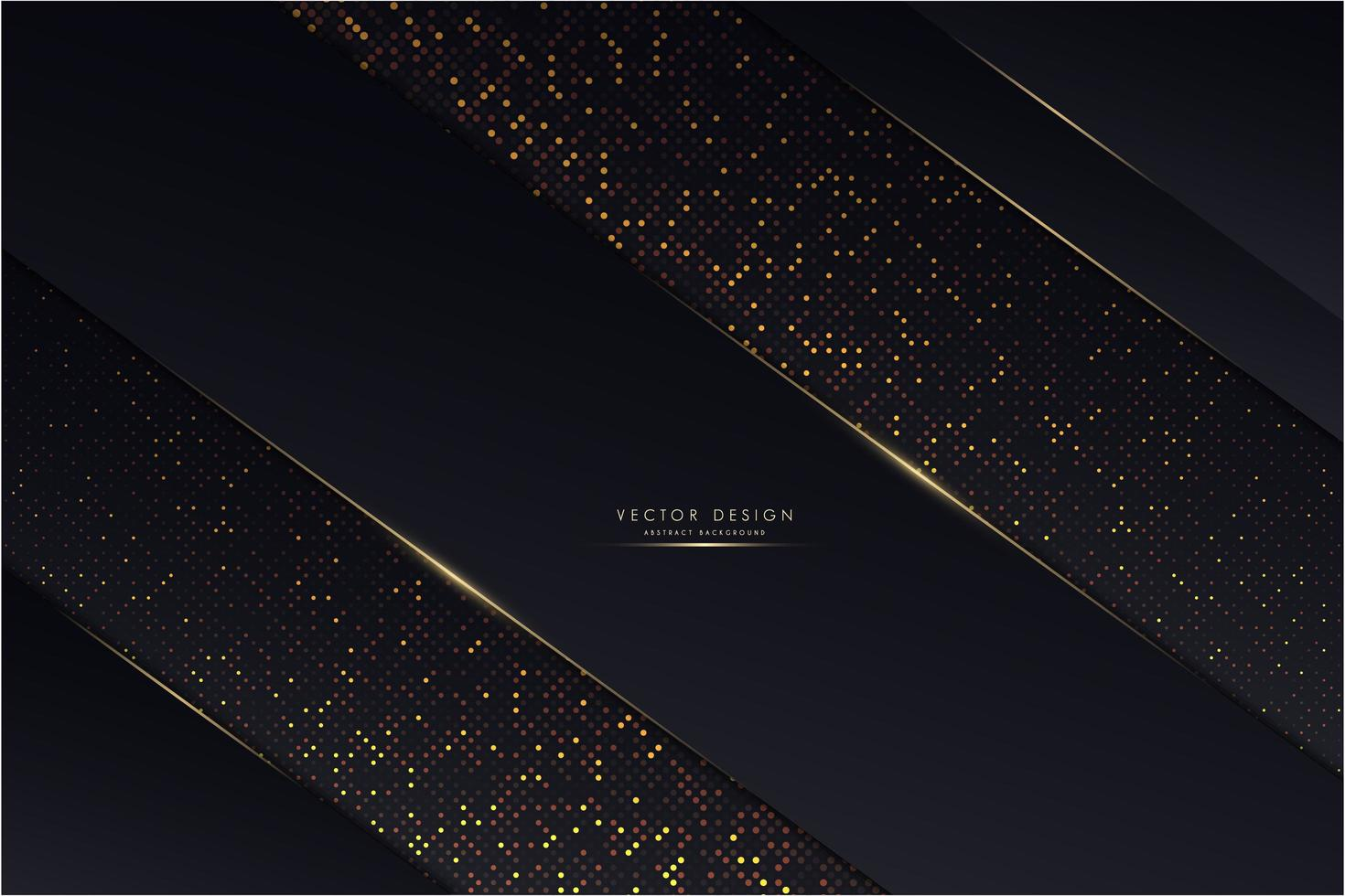 Metallic dark blue angled panels with glowing golden dots vector