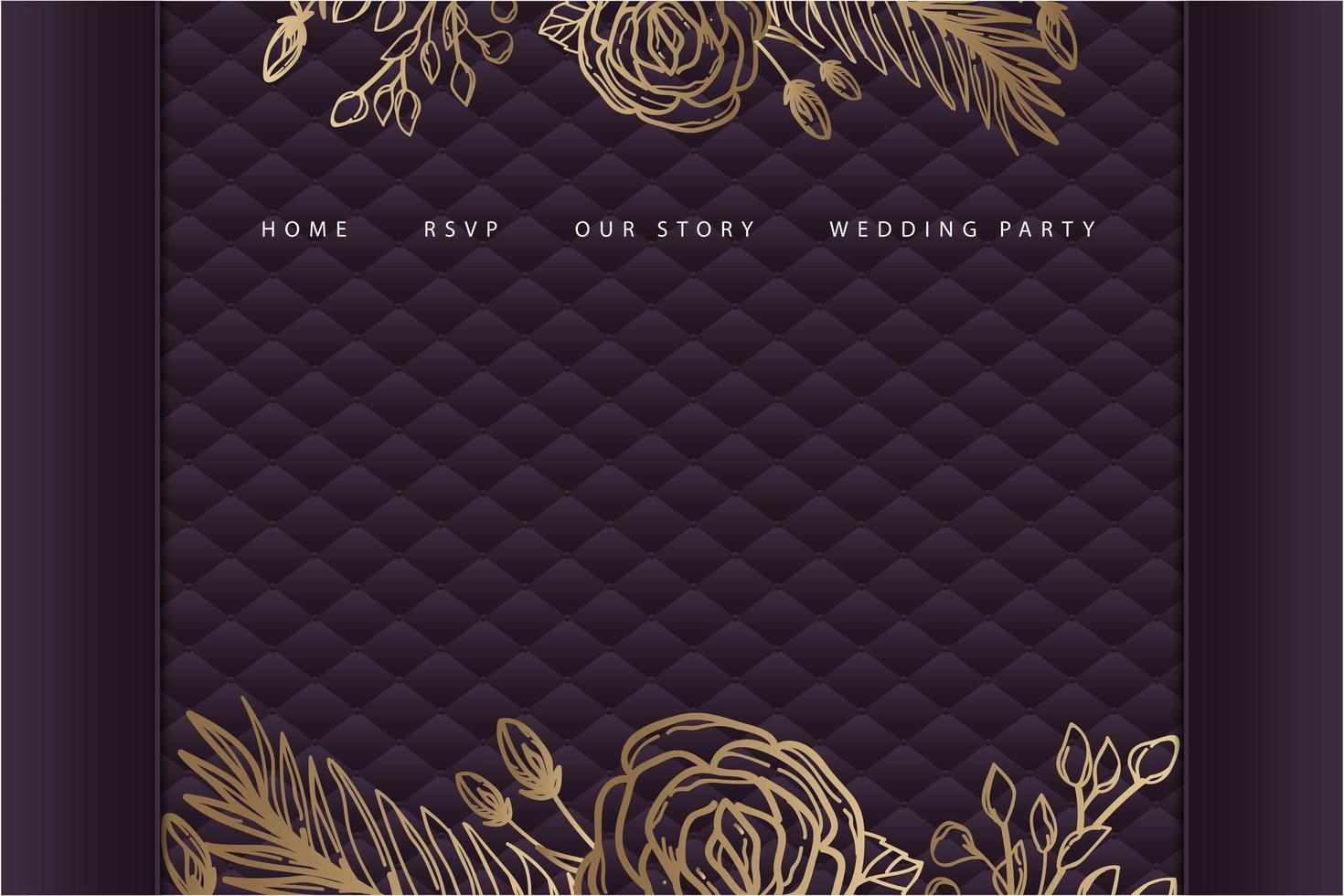 Página de inicio de boda floral dorada con tapicería púrpura vector