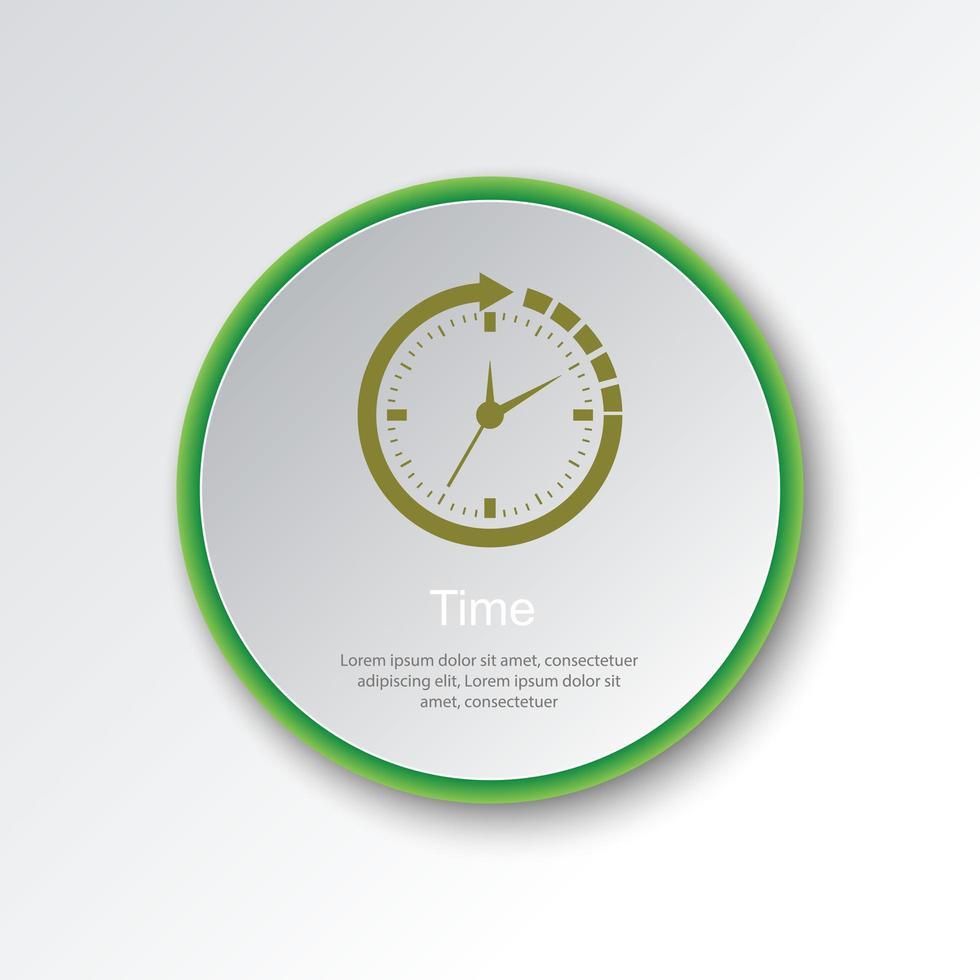 temporizador icono de botón circular vector