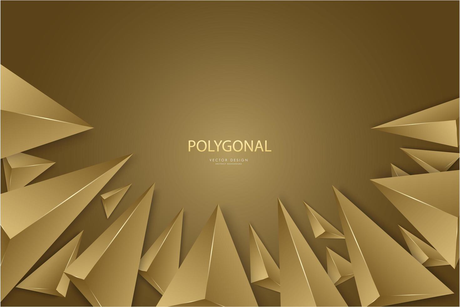 Diseño moderno de triángulos de oro 3d de lujo. vector