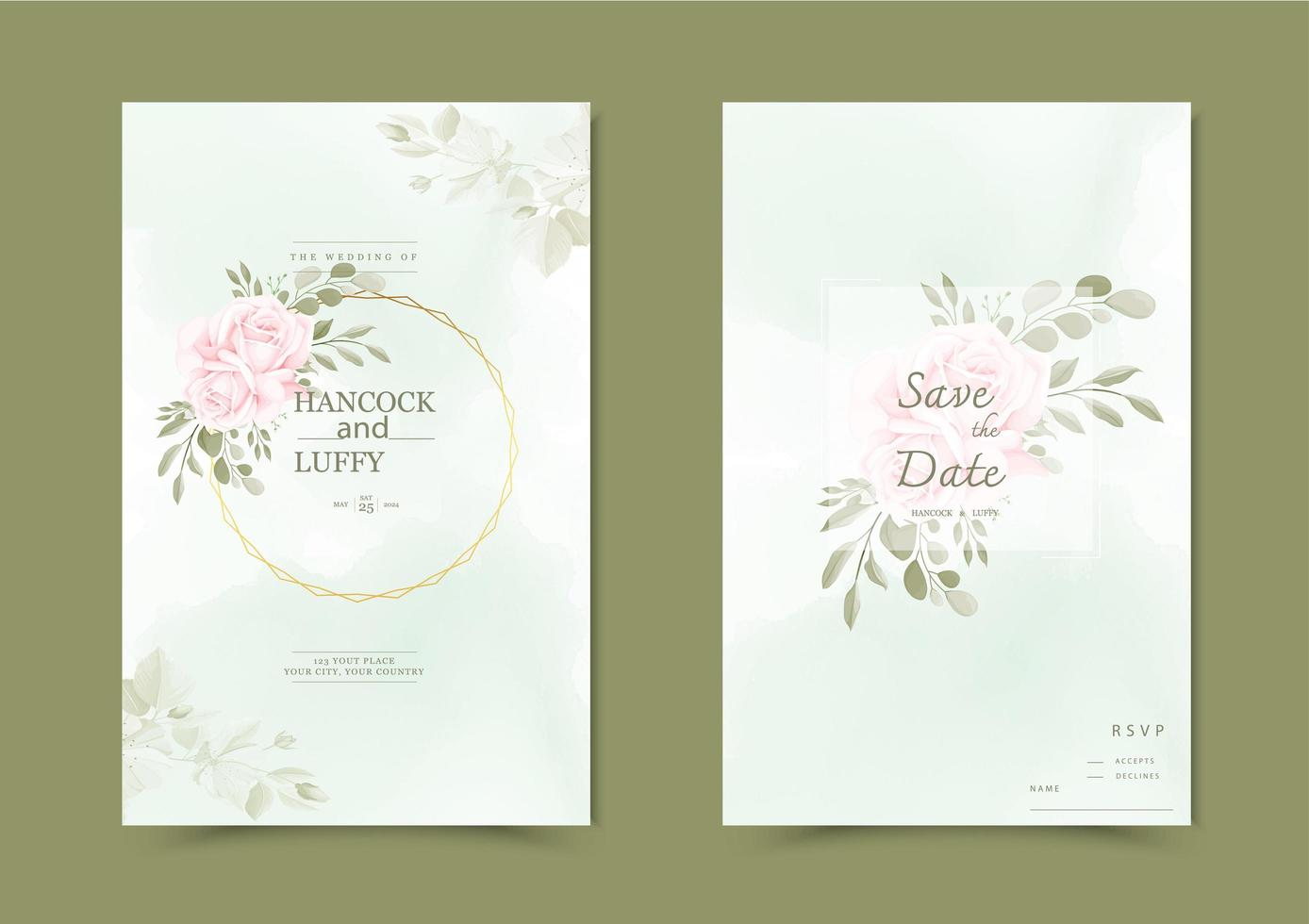 Floral wedding invitation card. vector