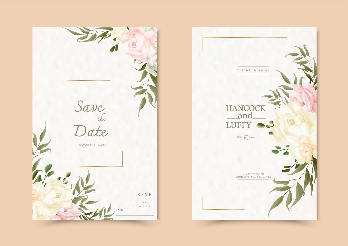 tarjeta de invitación de boda floral. vector