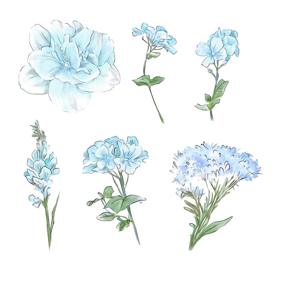 conjunto de acuarela tiernas flores y hojas vector