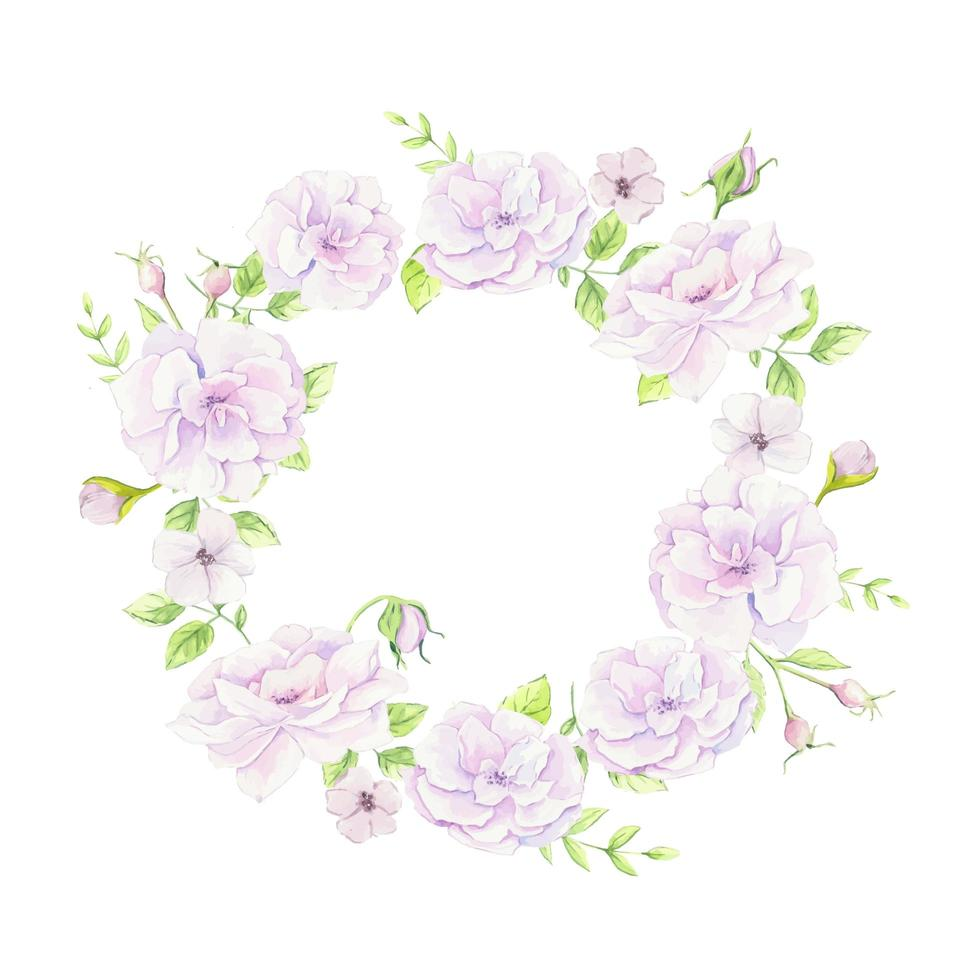 Watercolor wreath of wild roses vector