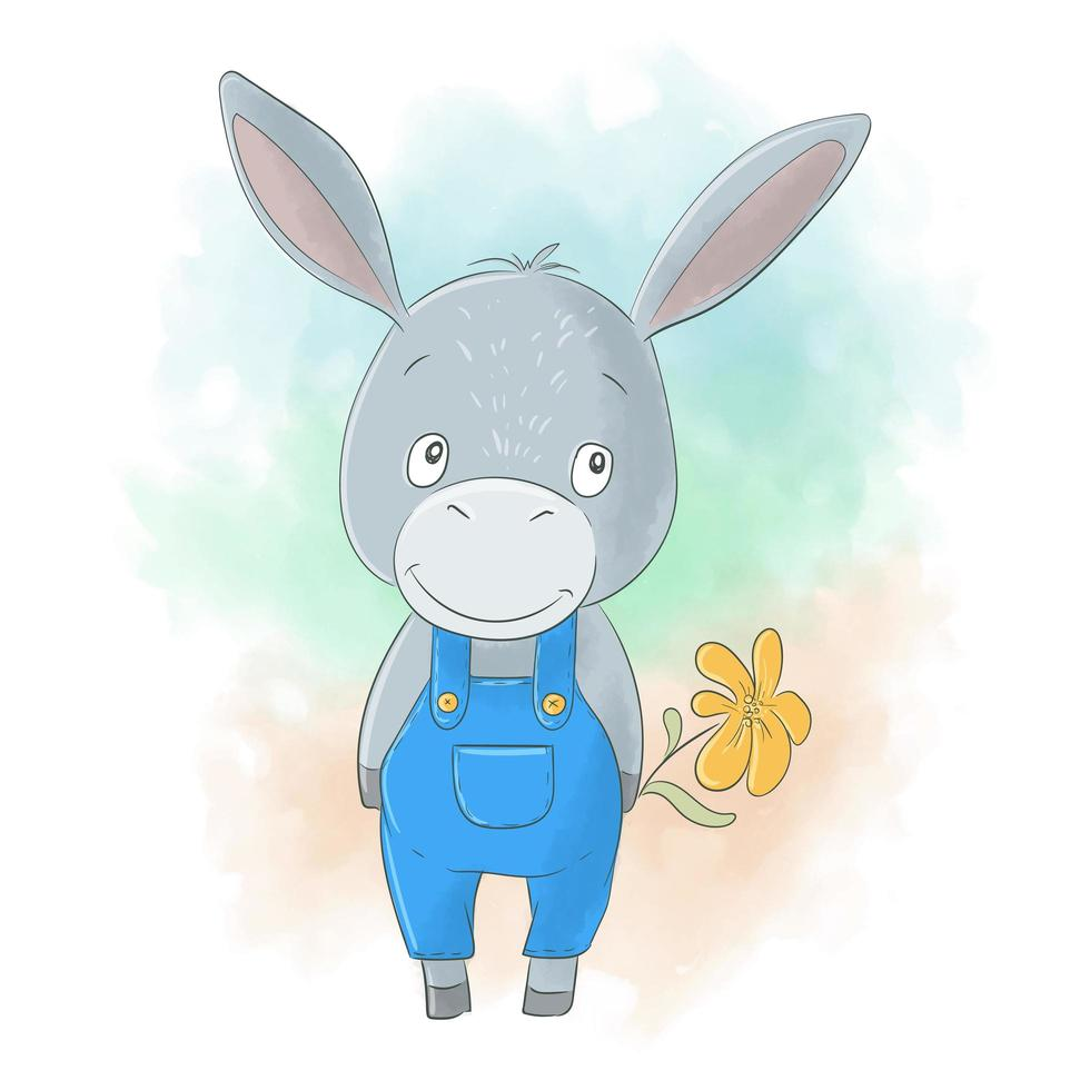 lindo, caricatura, burro, niño, con, flor vector