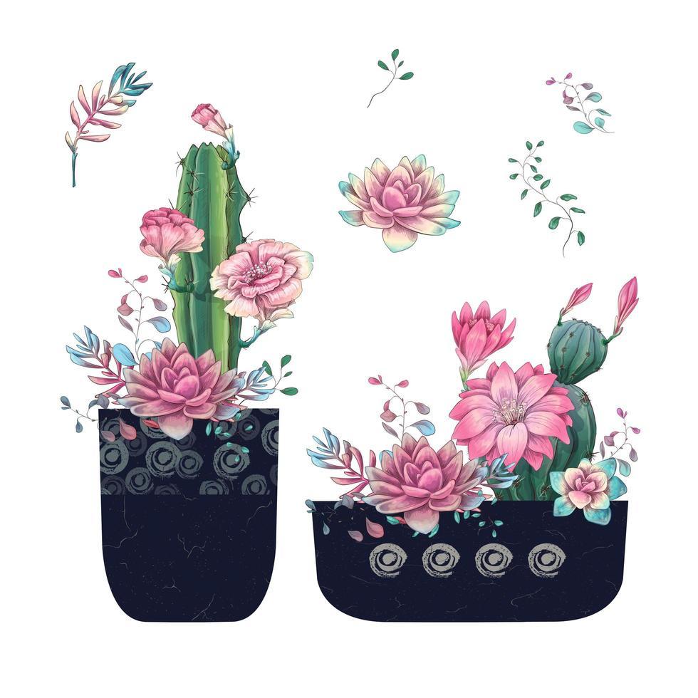 suculentas y flores en macetas acuarela dibujada a mano vector