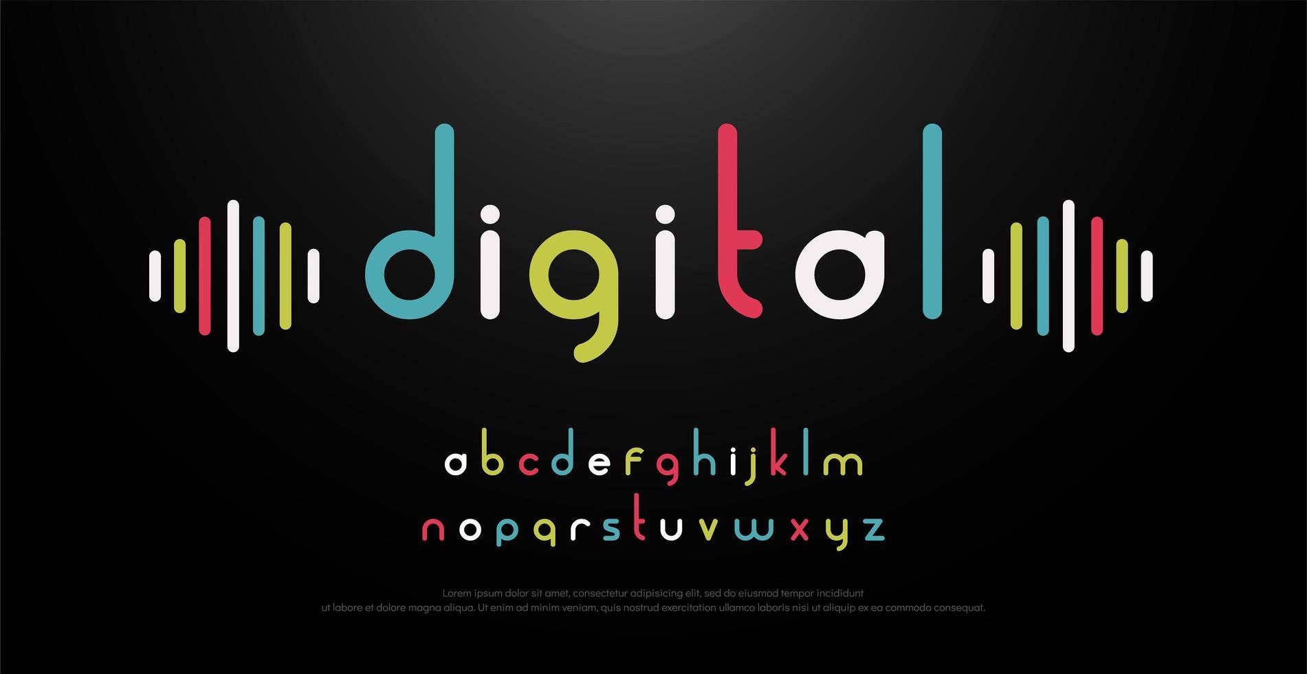 alfabeto colorido de música digital vector