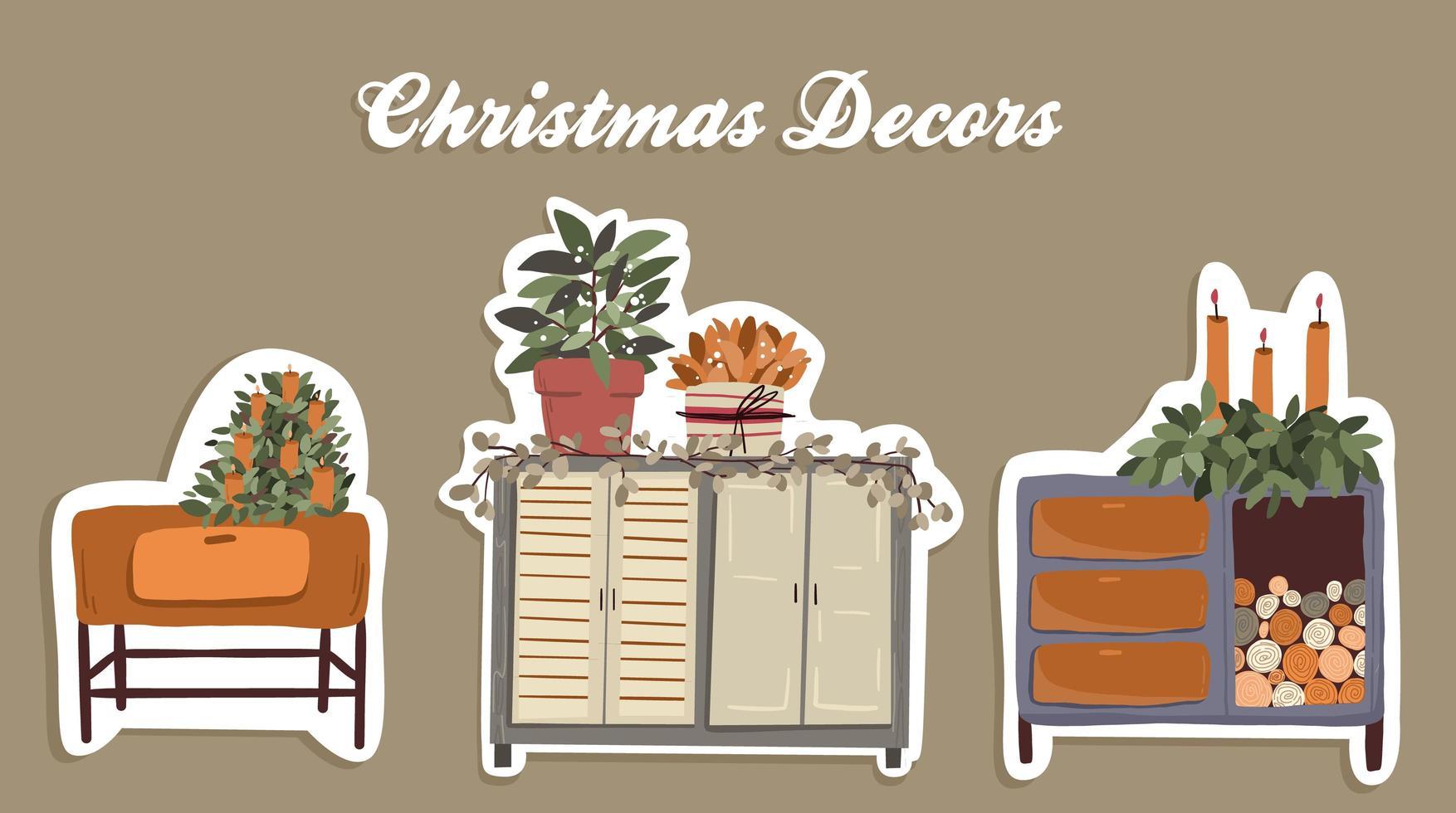 Christmas plants decor elements set vector