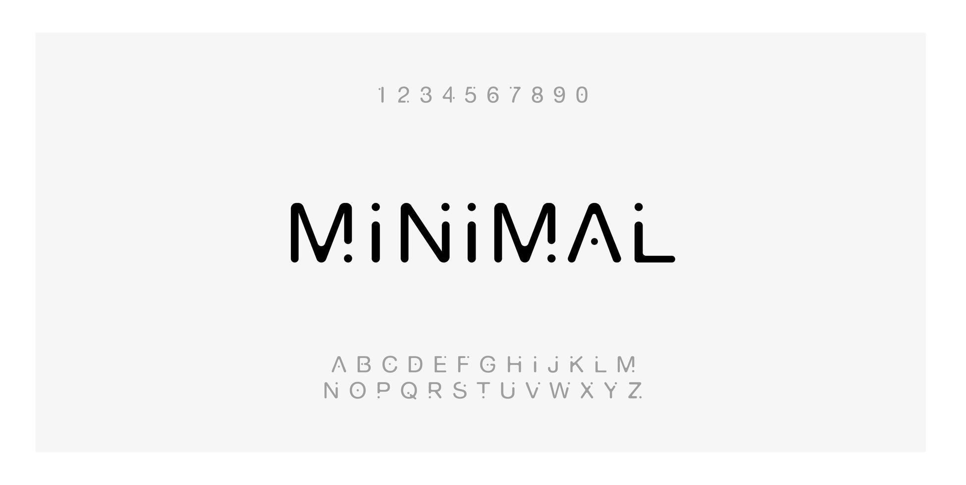 fuente de puntos mínimos con letras y números vector