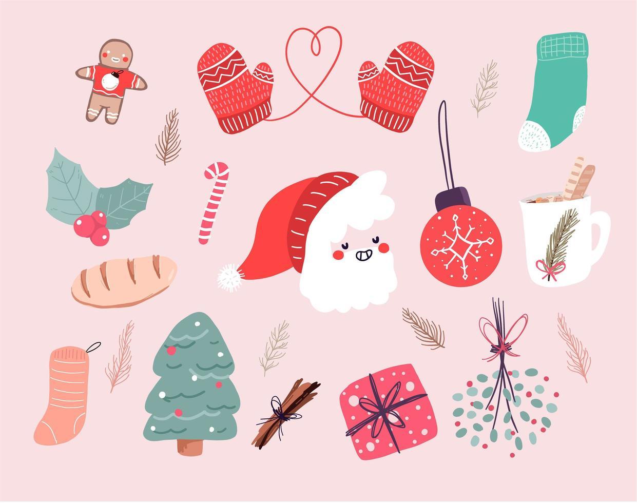 Christmas cute cartoon elements indoor decor set vector