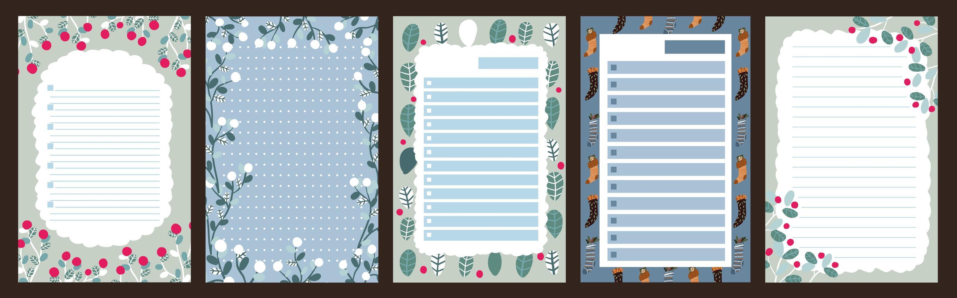 Christmas holiday journal, notepad set vector