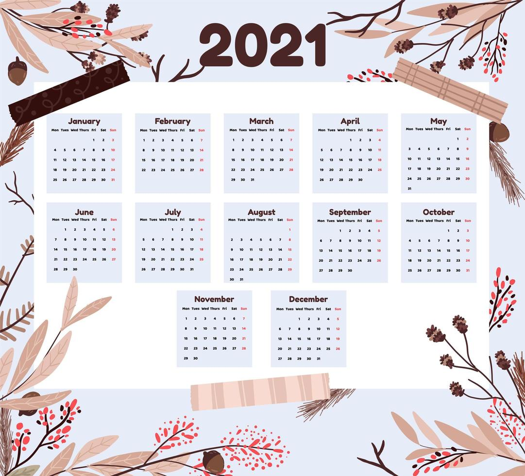 Holiday 2021 calendar with branches vector