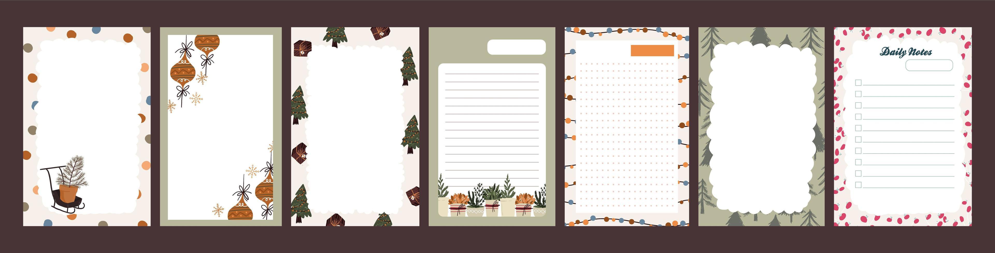 diario de vacaciones de navidad, juego de bloc de notas vector