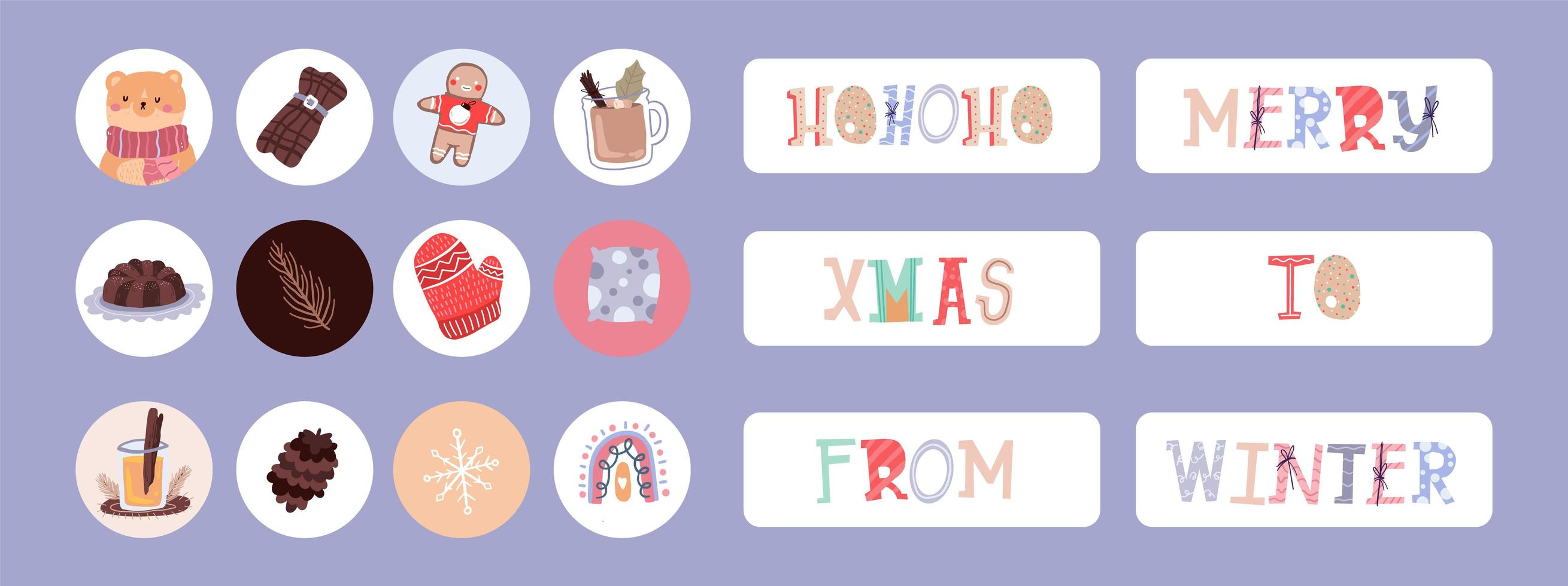 pegatina navideña, conjunto de etiquetas vector