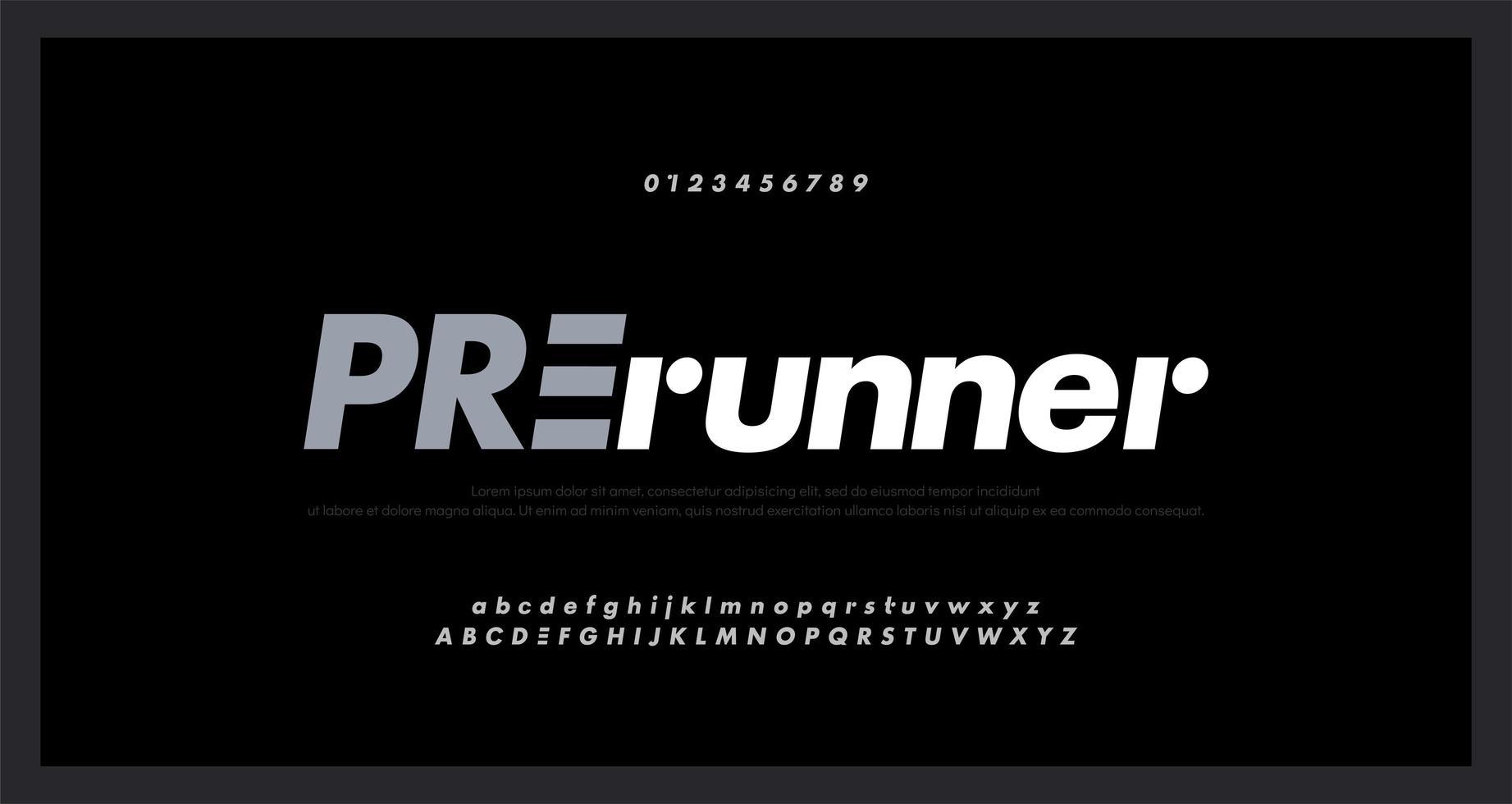 Alfabeto deportivo abstracto y fuente numérica vector