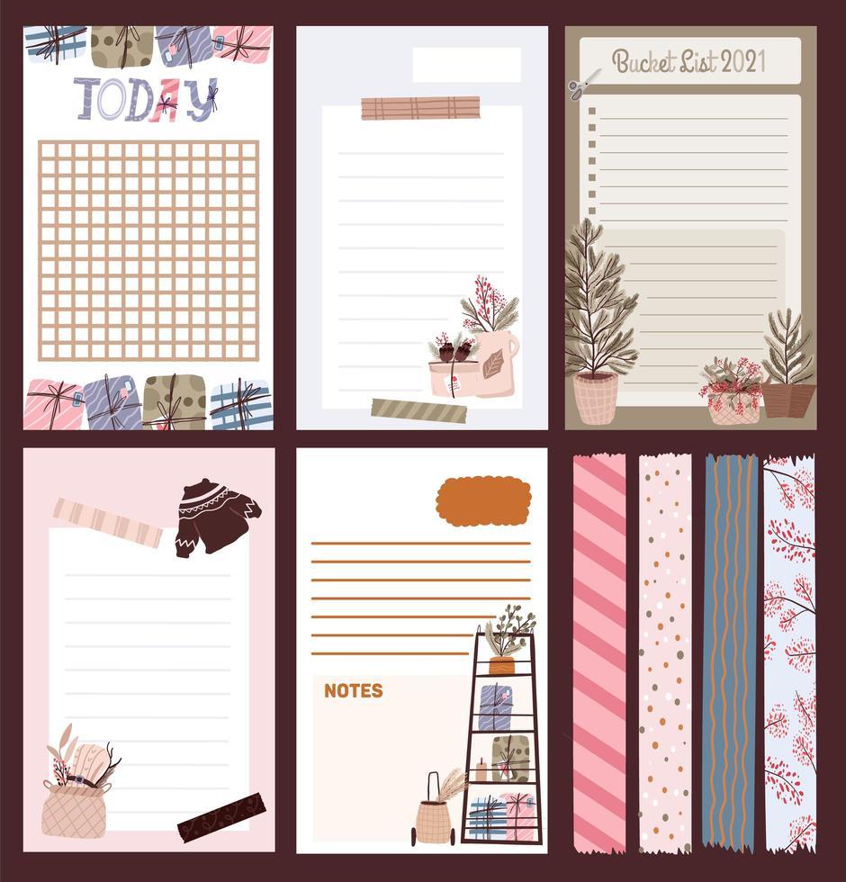 diario de vacaciones de Navidad, bloc de notas, juego de cintas vector