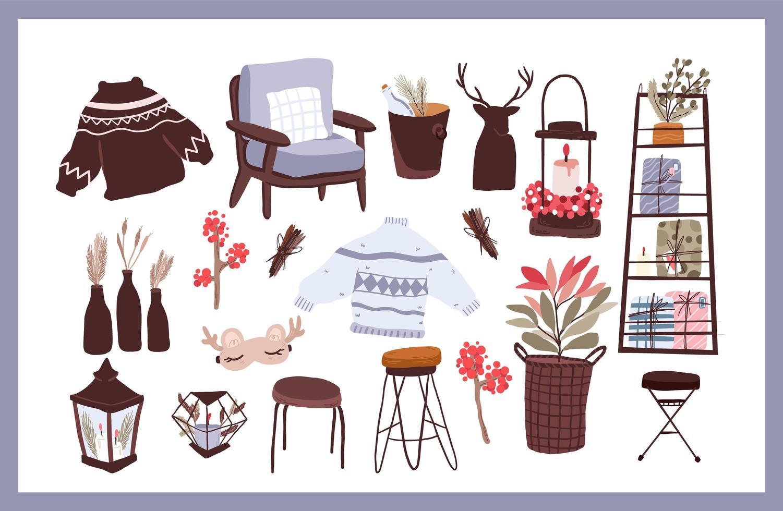 conjunto de decoración interior de elementos de dibujos animados lindo na vector