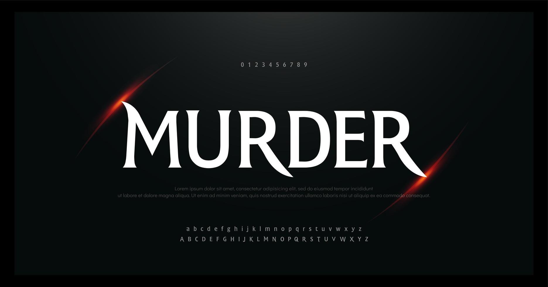 fuente de alfabeto y números de películas de terror, terror vector