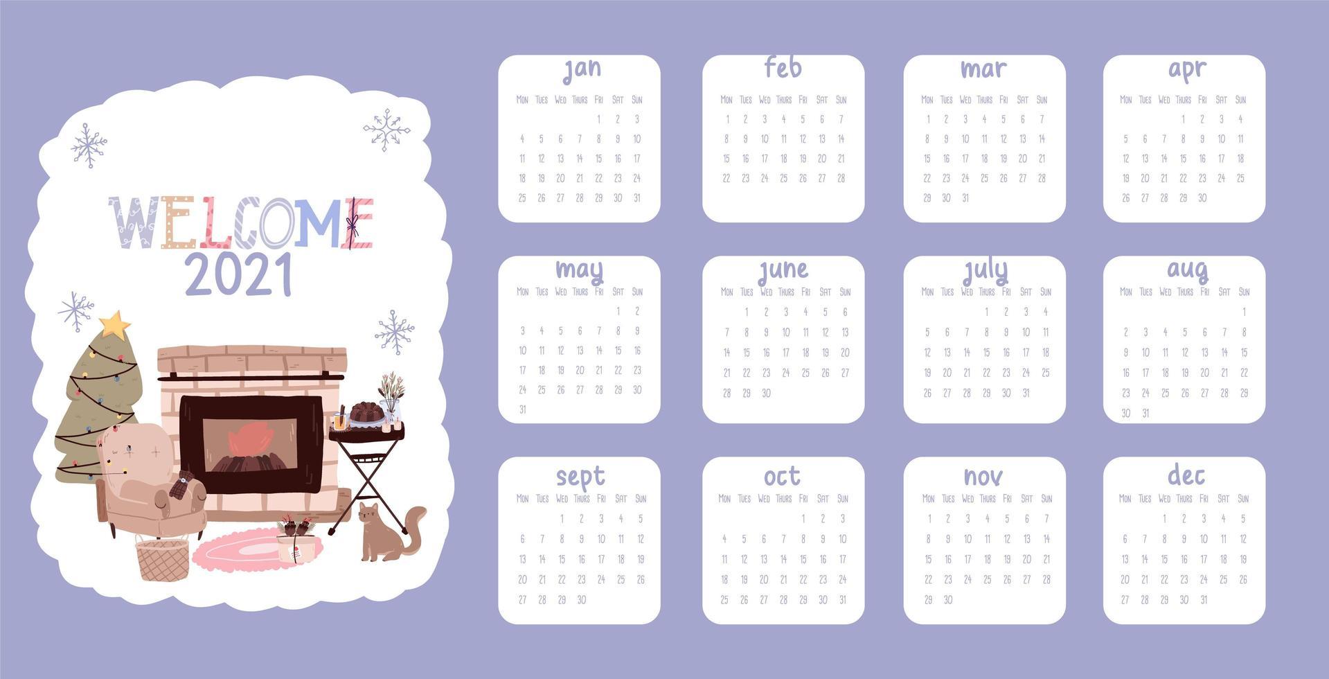 Christmas 2021 calendar vector