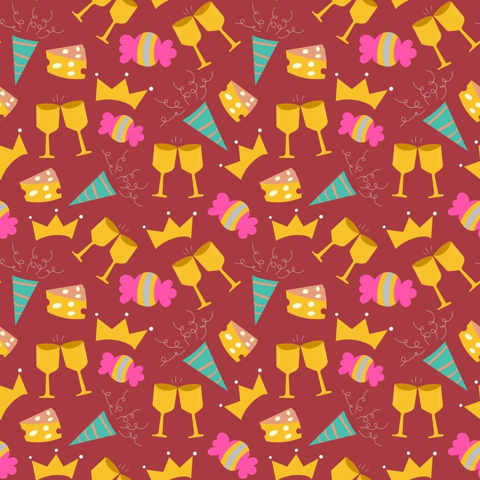 celebración de cumpleaños, seamless, plano de fondo, patrón vector