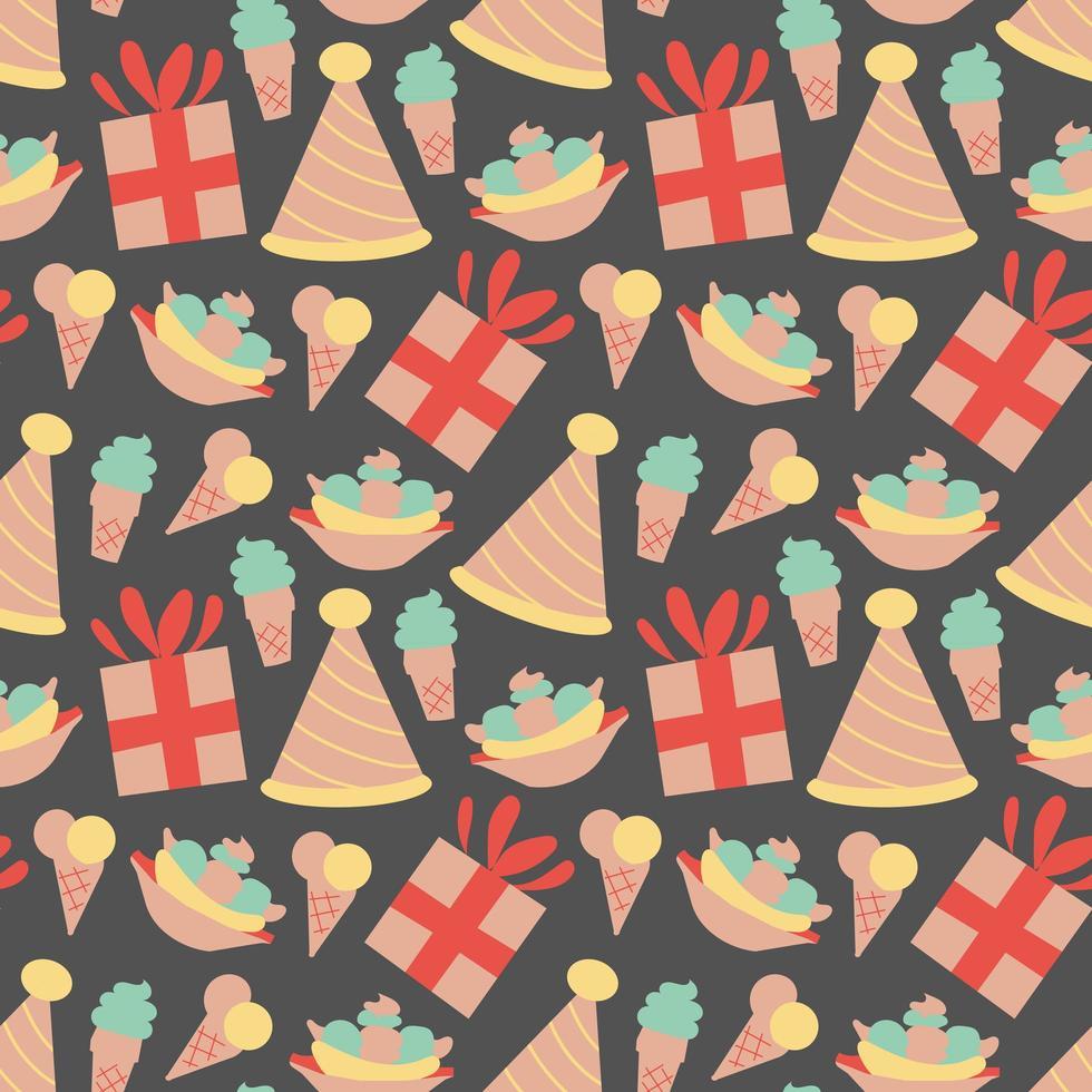 patrón sin costuras con helado en vector