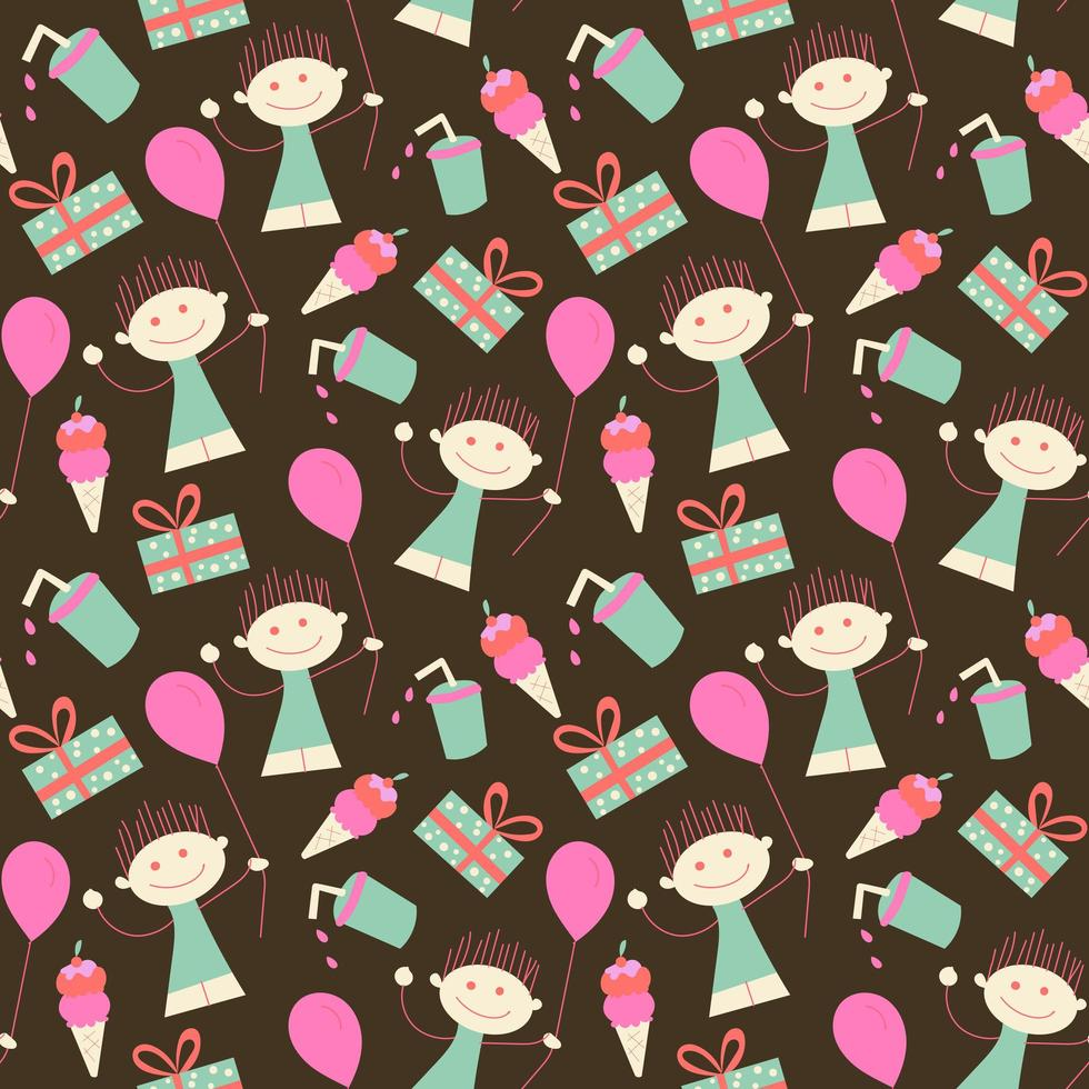 Birthday seamless wallpaper girl and balloon vector