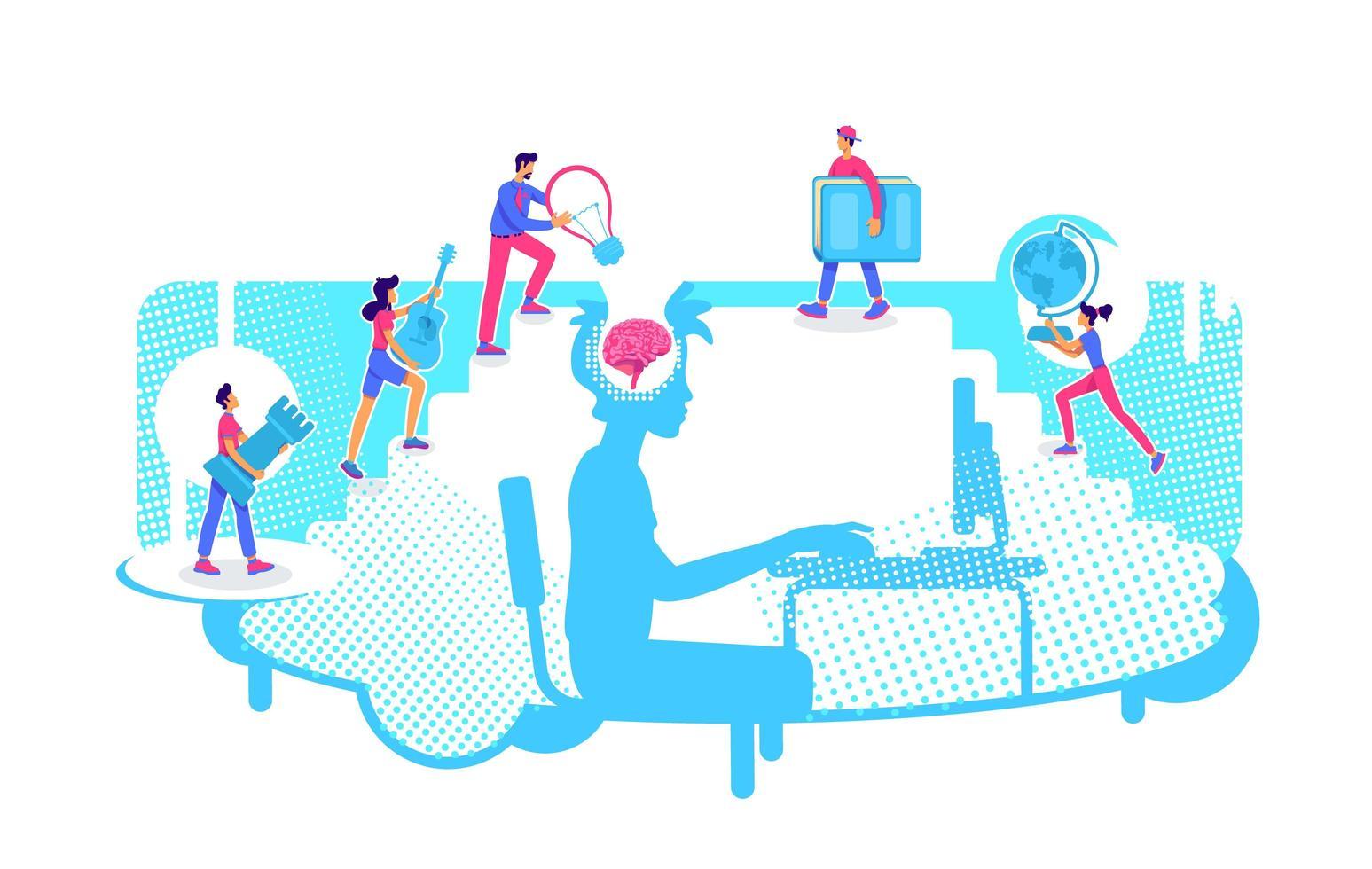 aprendizaje universitario en línea vector