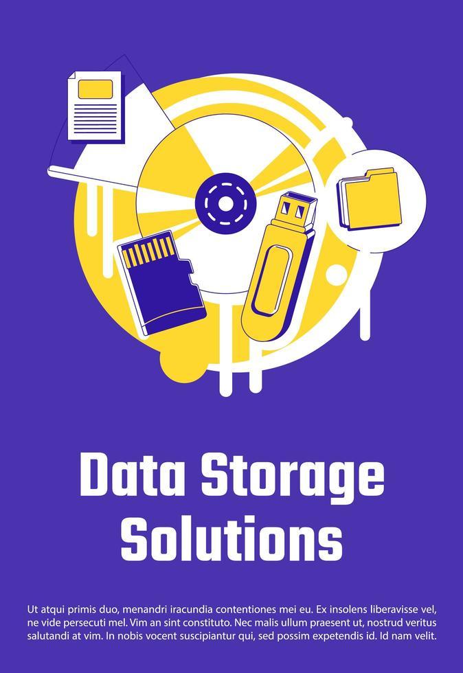 cartel de soluciones de almacenamiento de datos vector