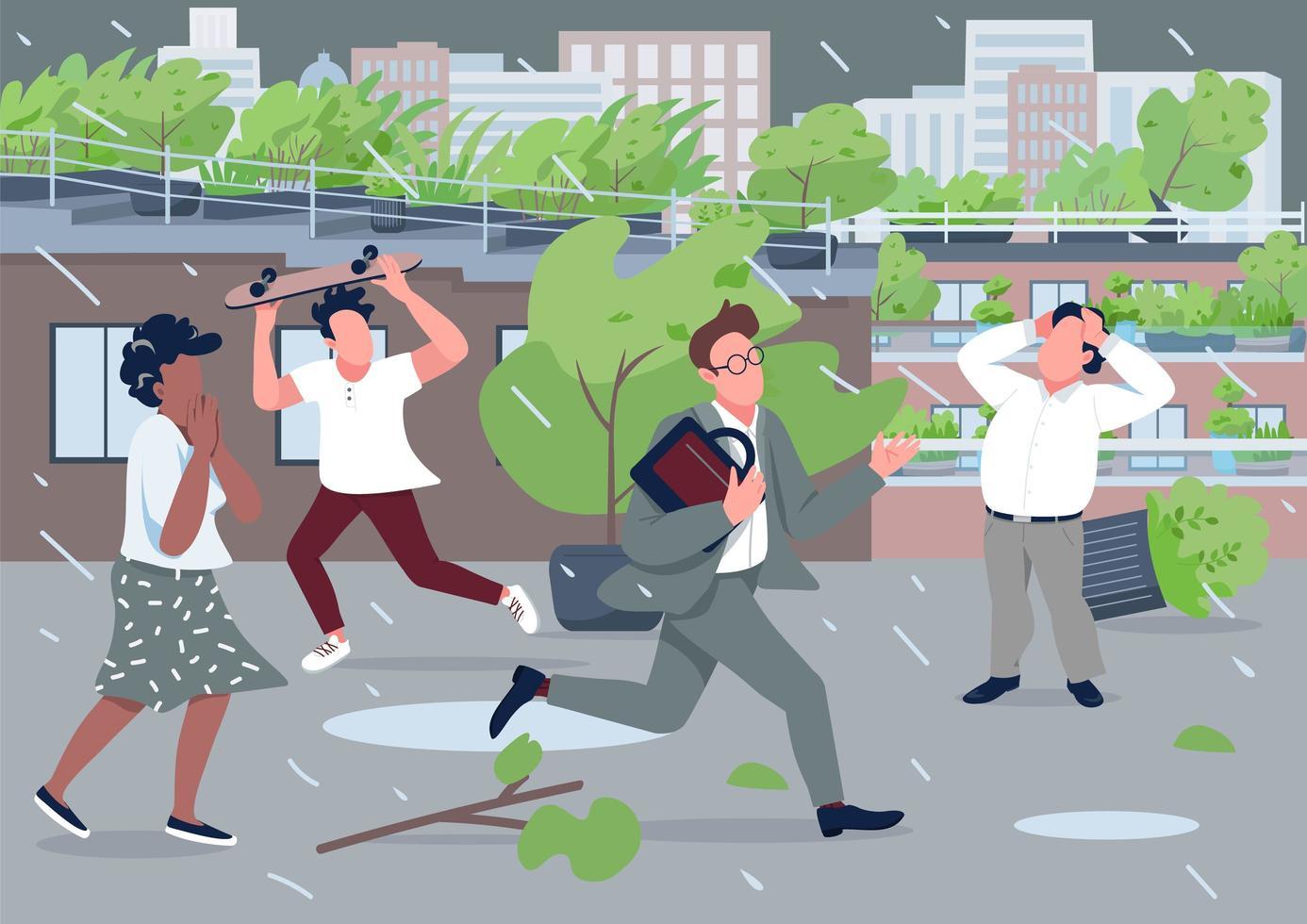 gente estresada huyendo de la lluvia vector