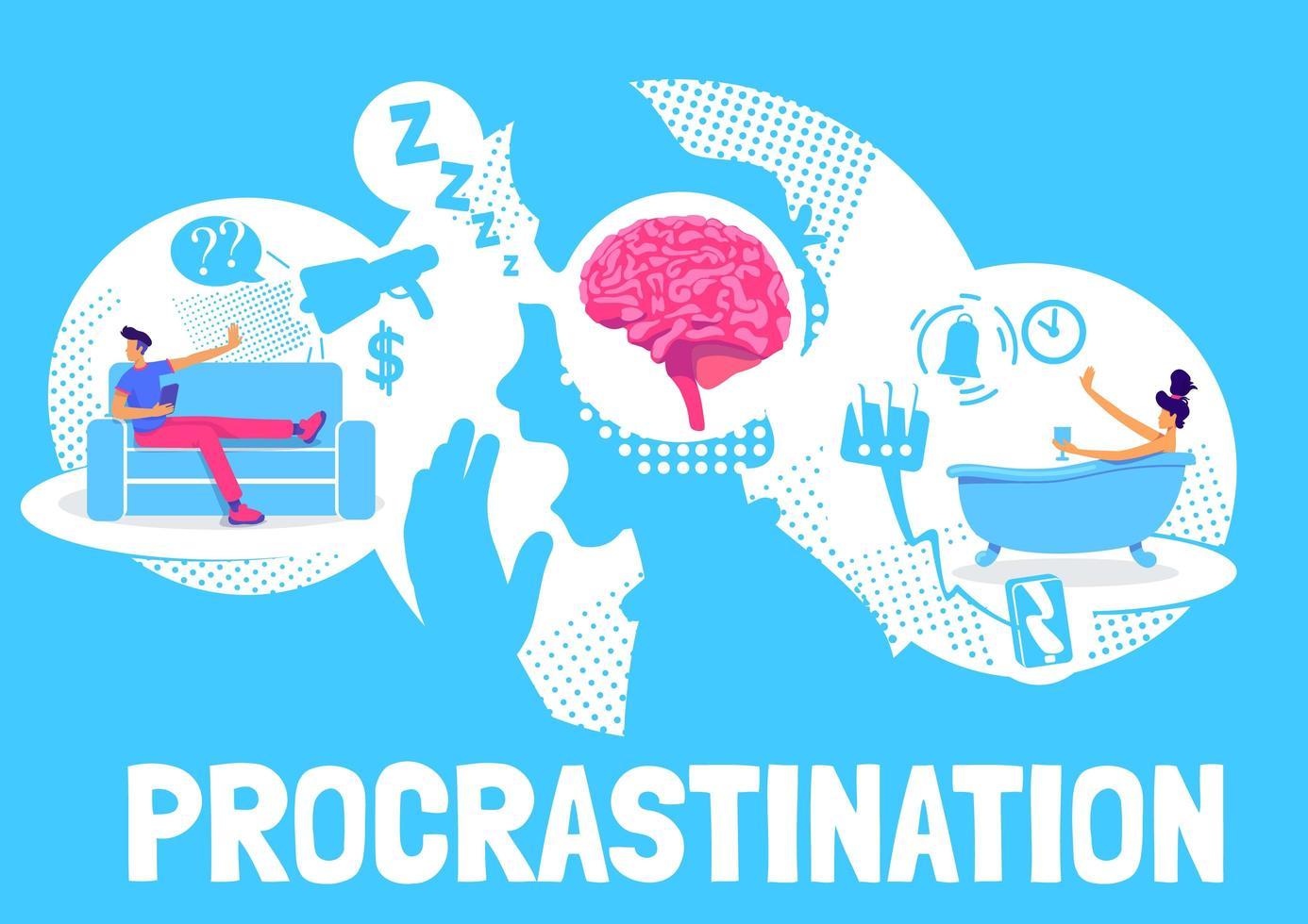 diseño de cartel de procrastinación vector