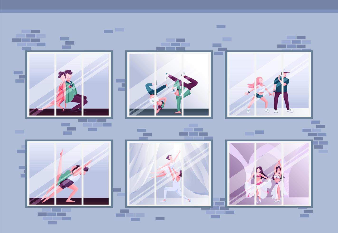 ventanas de la clase de baile matutino vector