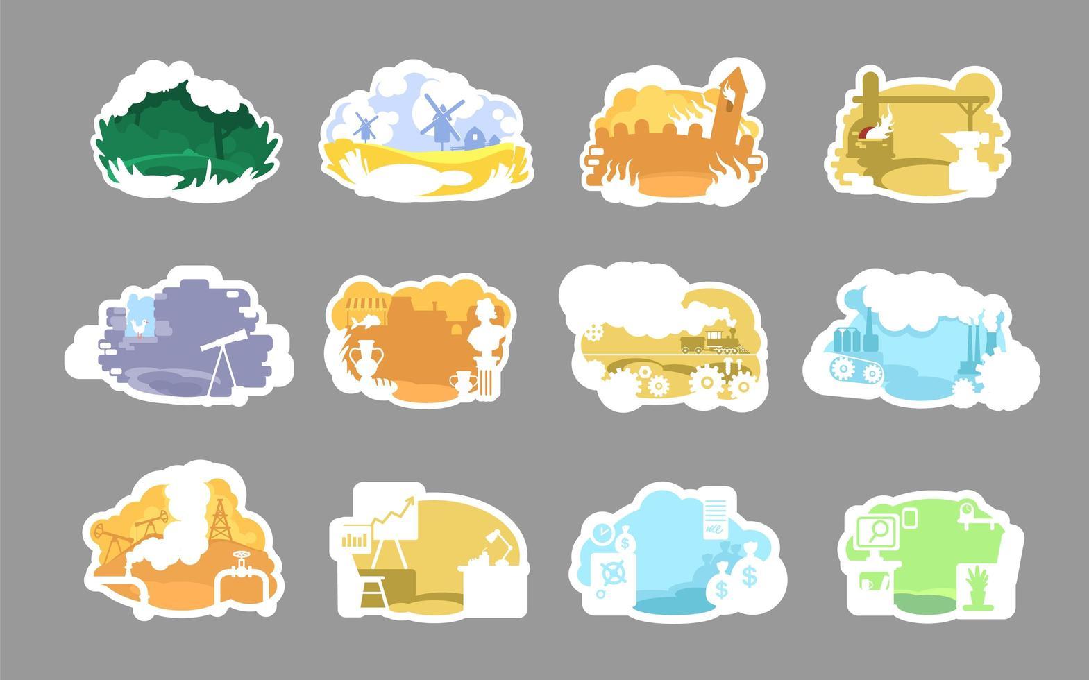 conjunto de insignias de paisajes históricos vector