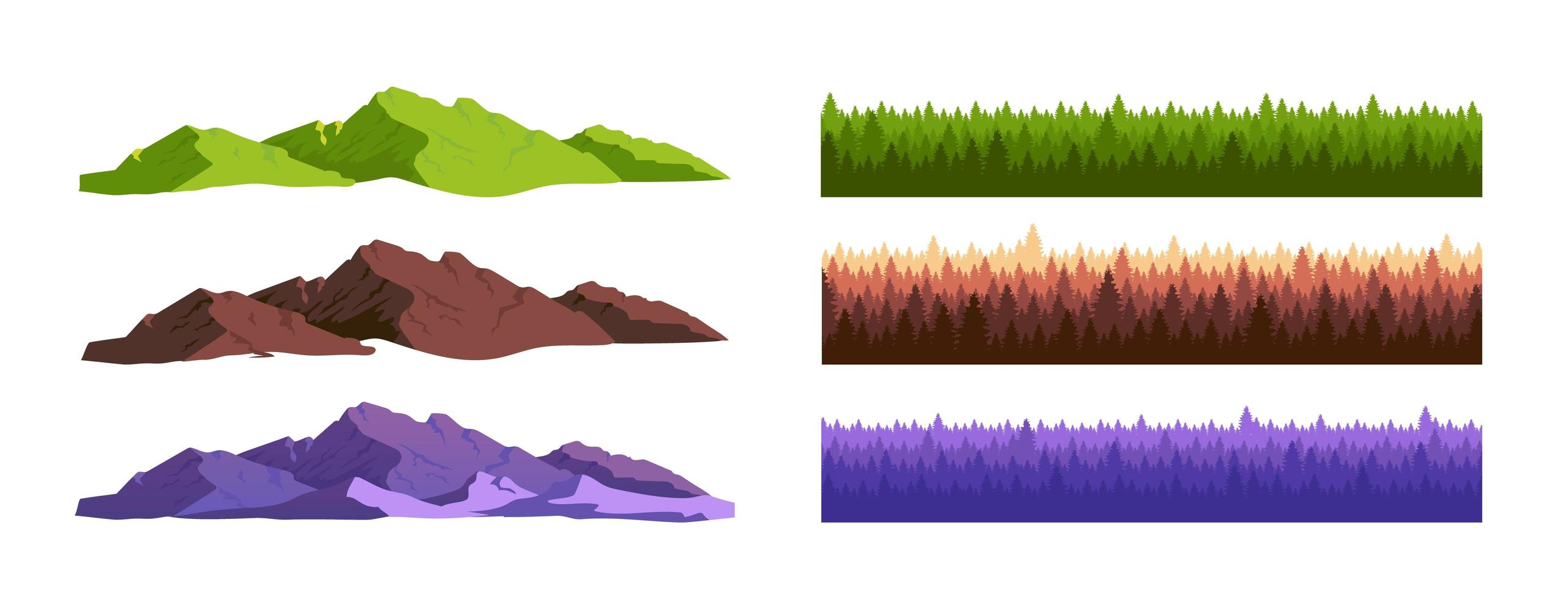 Conjunto de montañas y bosques de coníferas. vector