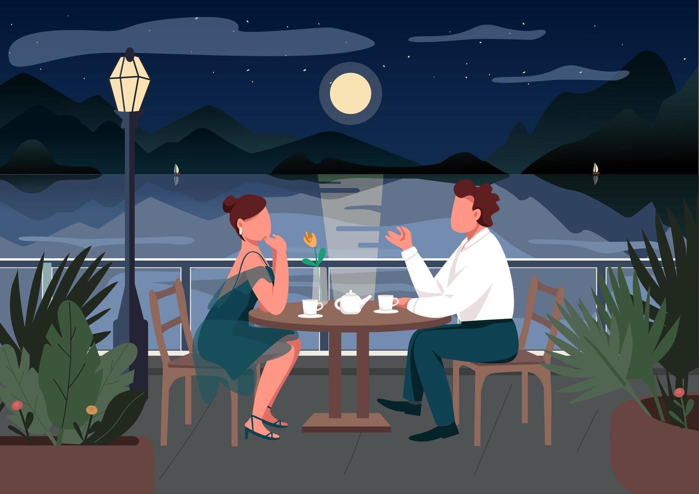 Romantic date in seaside resort town vector