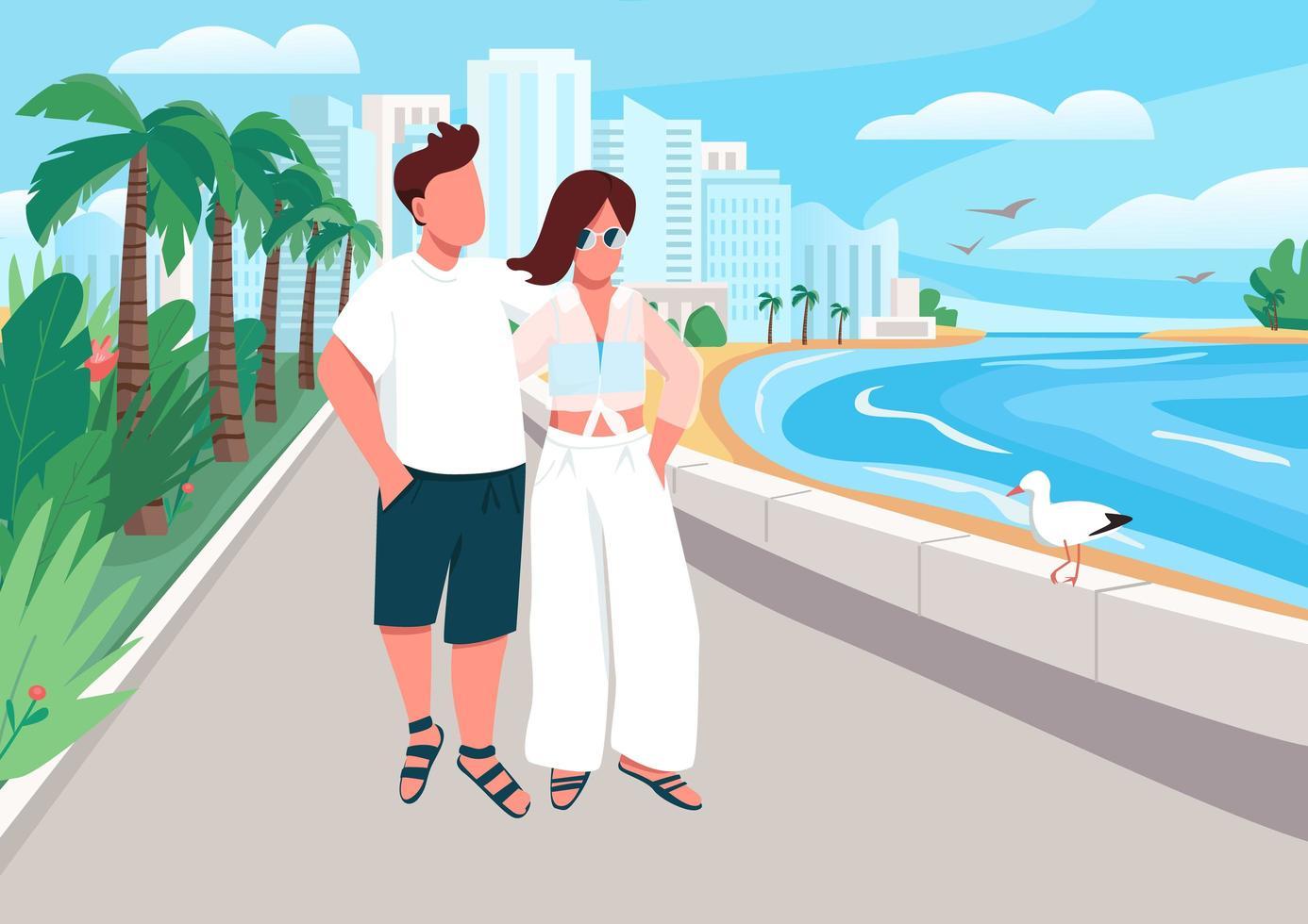 pareja enamorada caminando por el paseo marítimo vector