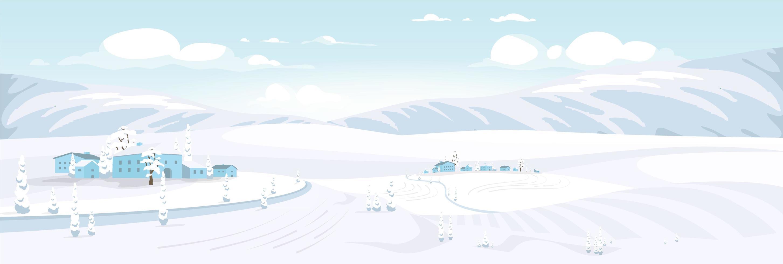perspectiva del paisaje de invierno vector