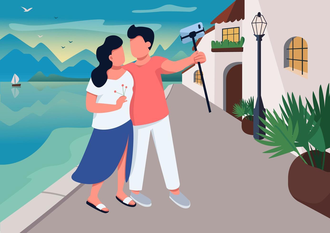 cita de pareja en pueblo turístico vector