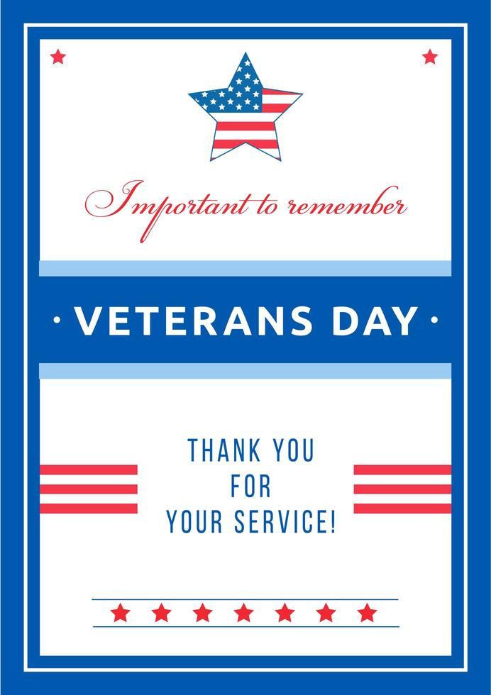 Veterans Day event poster vector