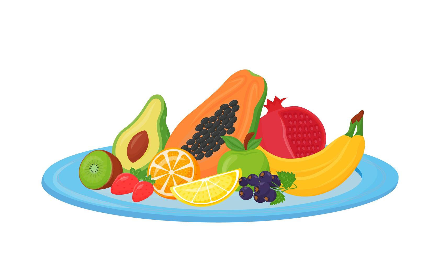 frutas frescas en placa vector