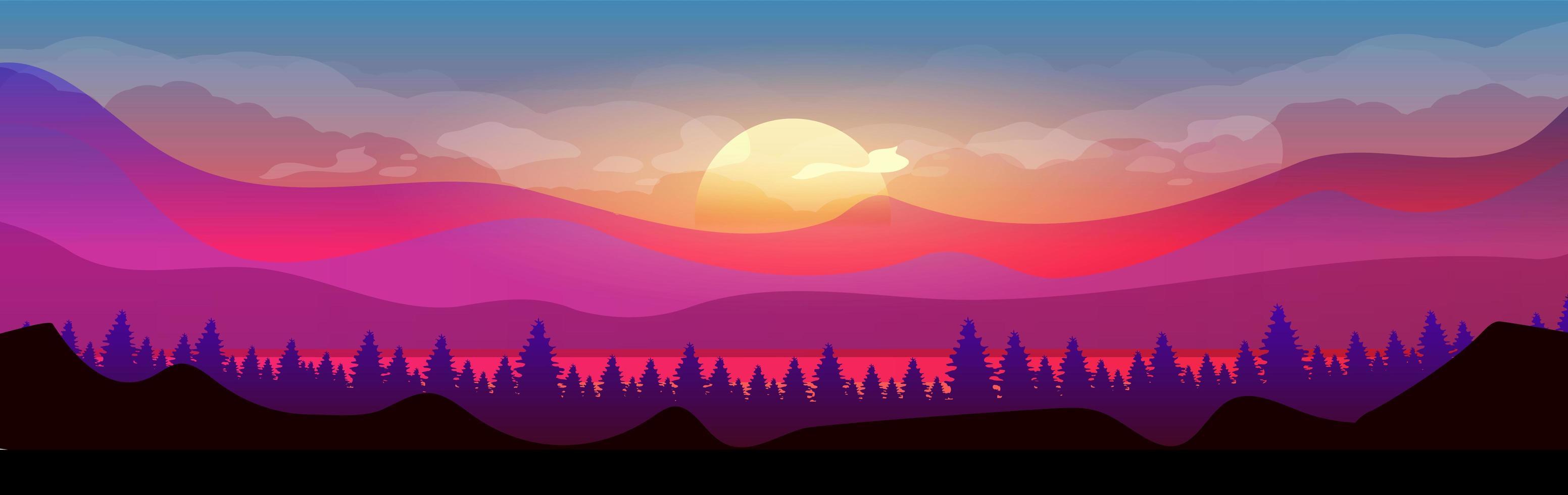 puesta de sol en las montañas vector