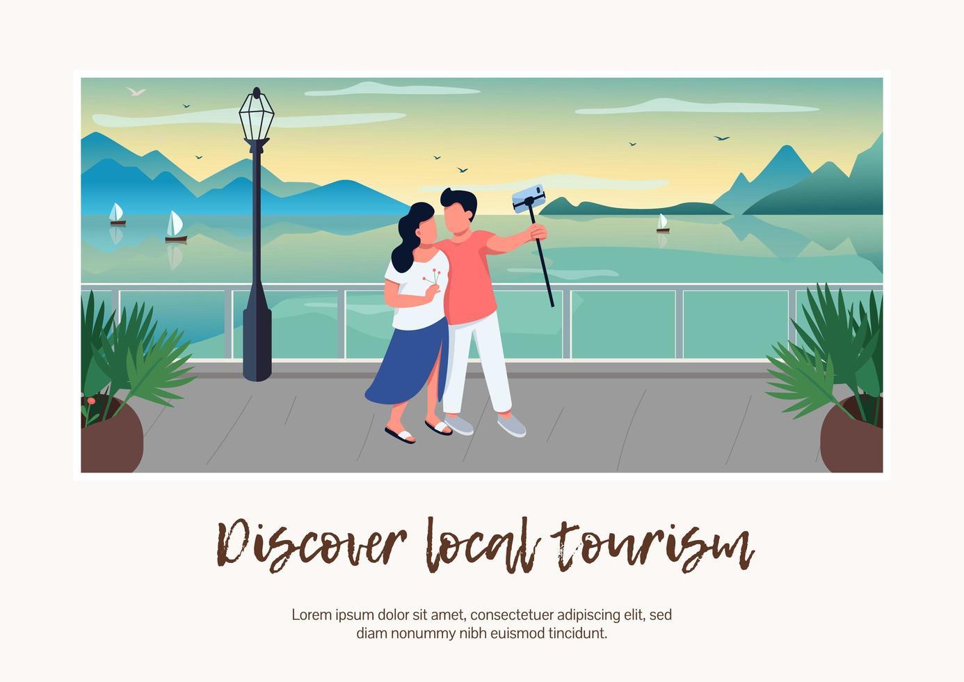 descubrir banner de turismo local vector