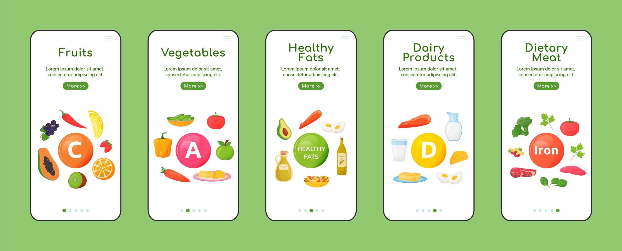 Vitamins and minerals onboarding mobile app screens vector