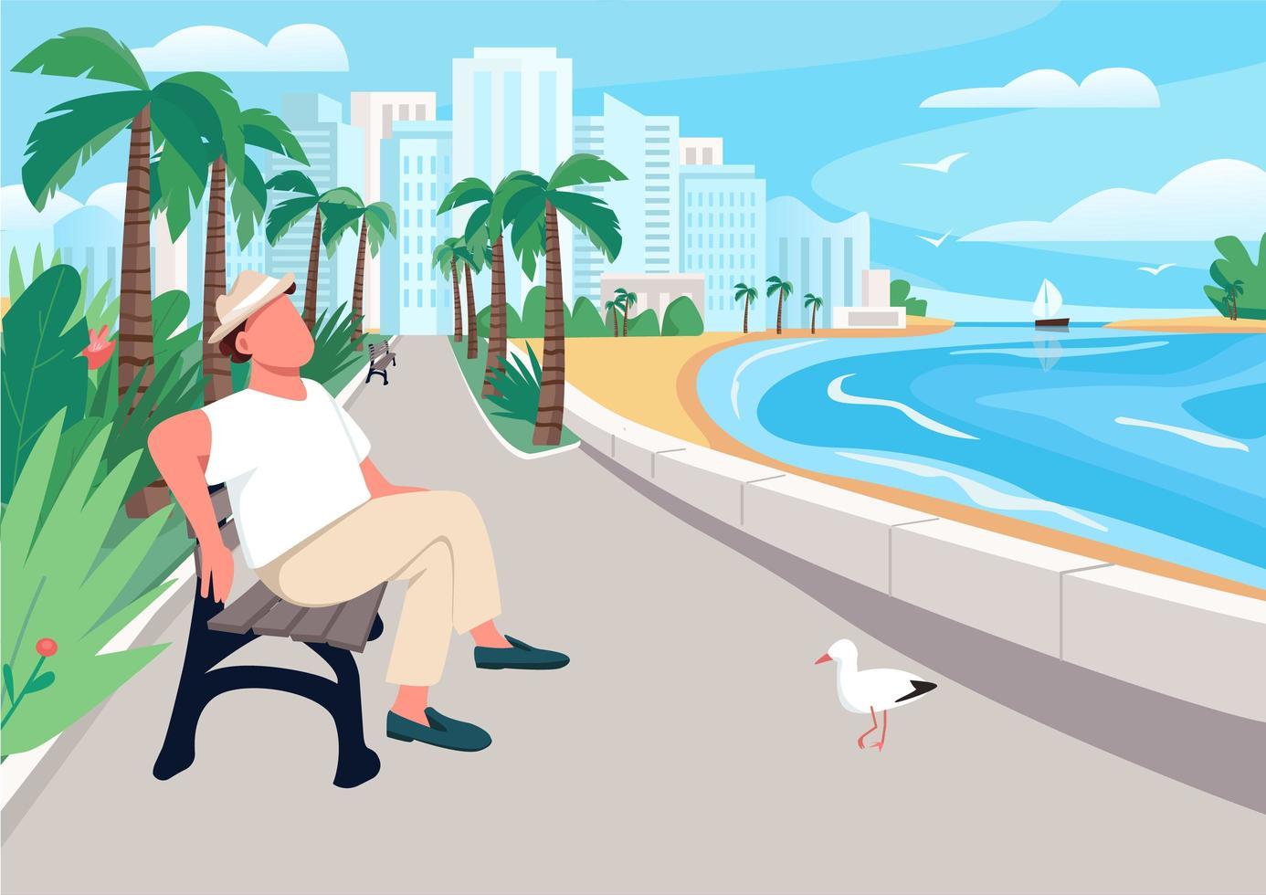 Hombre sentado en un banco de la calle frente al mar vector